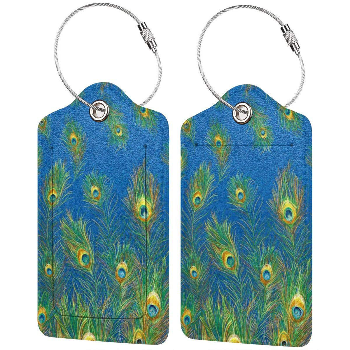 Peacock Feather Pattern Leather Luggage Tags Personalized Privacy Cover With Privacy Flap