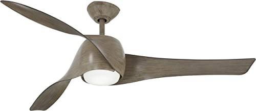 58 Minka Aire F803L-DRF Artemis Driftwood Indoor Protruding Mount Farmhouse LED Ceiling Fan with Remote Control