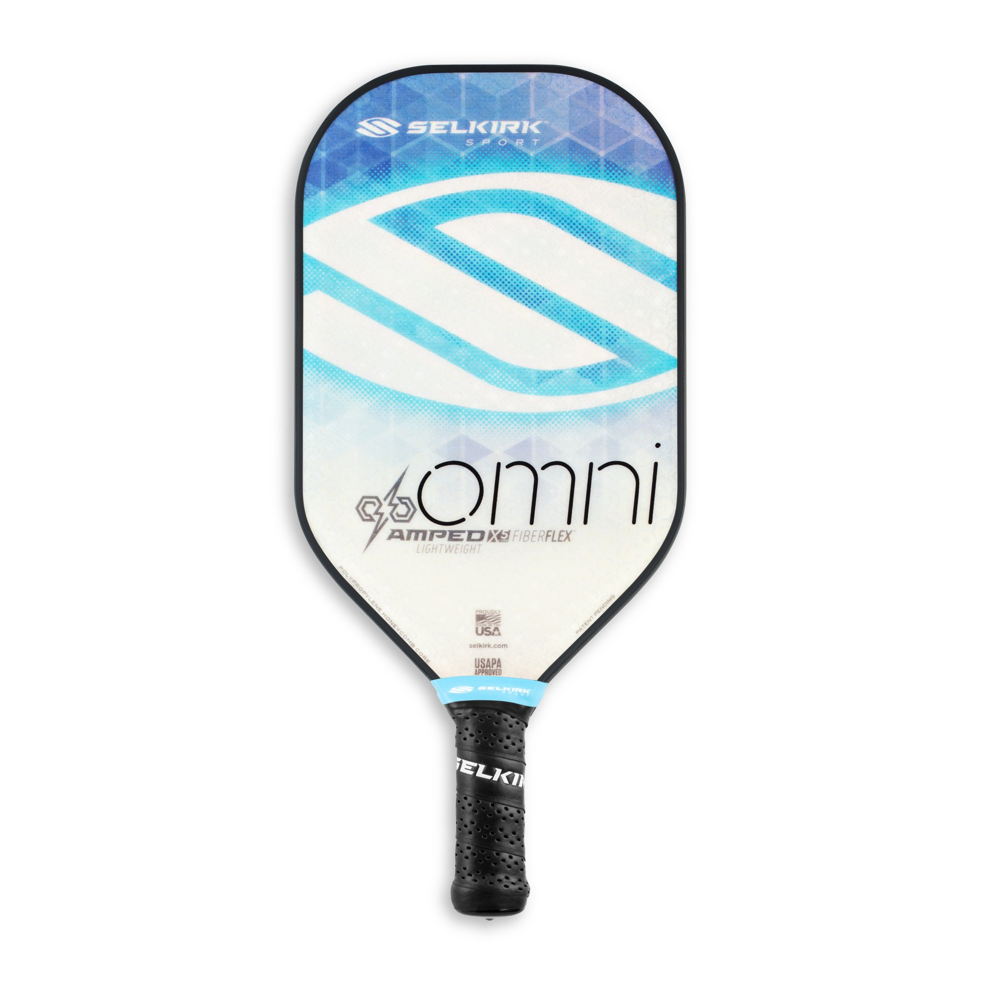 Selkirk Amped Pickleball Paddle - USAPA Approved - X5 Polypropylene Core - FiberFlex Fiberglass Face - 5 Sizes: Epic, S2, Omni, Maxima, and INVIKTA (Omni Lightweight - Sapphire Blue) by Selkirk Sport