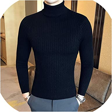 Winter High Neck Thick Warm Sweater Men Turtleneck Mens