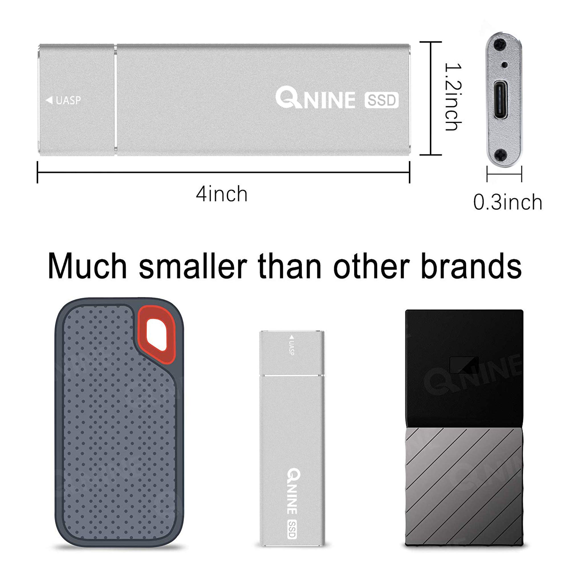 QNINE 256Gb Extreme Portable SSD (1.1 oz Weight), USB C SSD External Hard Drive - USB 3.1 High Speed External SSD for MacBook Pro, Xbox One X, etc by QNINE (Image #3)