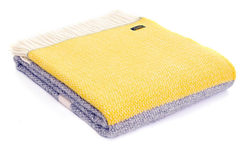 Illusion Panel Schurwolle Decke Überwurf – Grau Gelb