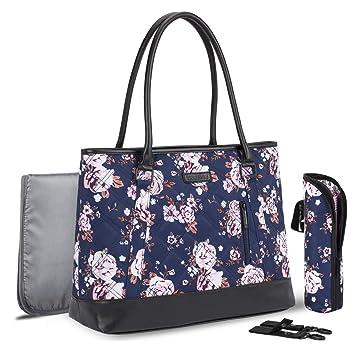 Leaper Floral Diaper Tote Bag Shoulder Bag Beach Bag Handbags Nappy Bag Pink