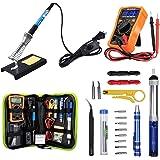 Anbes Soldering Iron Kit 60W Adjustable Temperature Welding Tool, Digital Multimeter, 2pcs Soldering Iron Tips…
