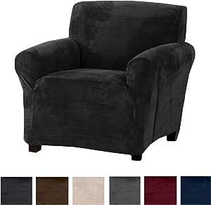 Modern Velvet Plush Arm Chair Slipcover. Strapless Chair Cover, Stretch Slipcover for Arm Chairs, Soft Chair Cover for Living Room. (Chair, Dark Grey)