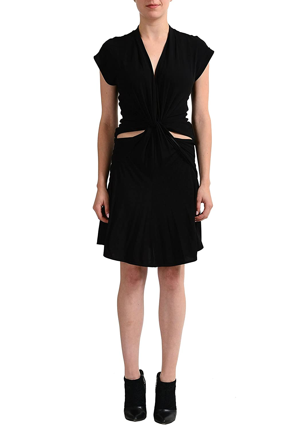 Just Cavalli Black Cap Sleeve Women's Sheath Dress US S IT 40