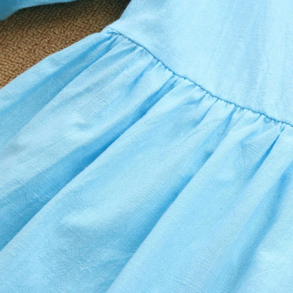 KONFA Teen Baby Girls Solid Color Lantern Sleeve Dress,Suitable for 2-7 Years Old,Little Princess Half Skirt Set