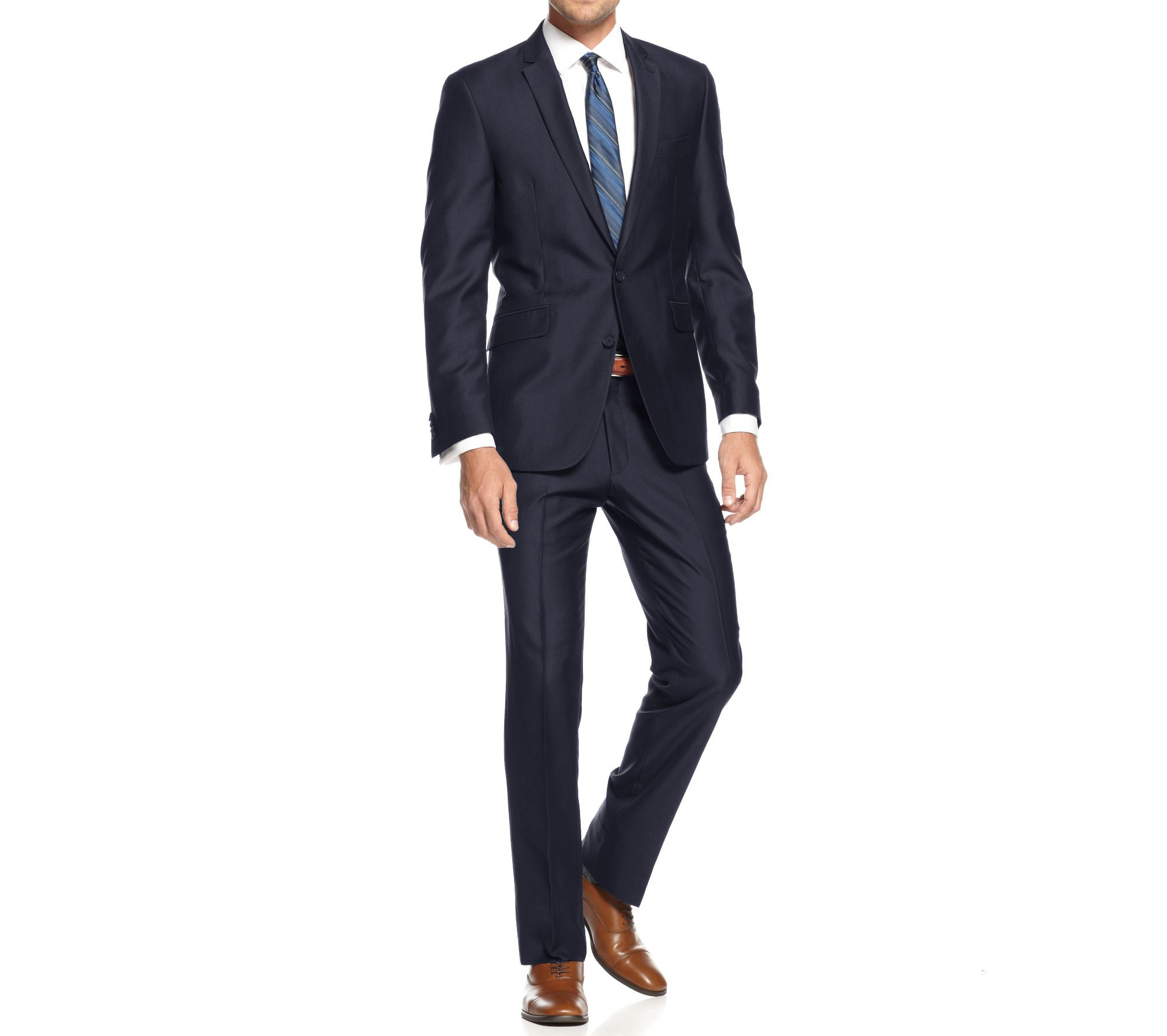 Braveman Mens Slim Fit Single Breasted 2 Piece Suit, Navy, Size 40L/34W
