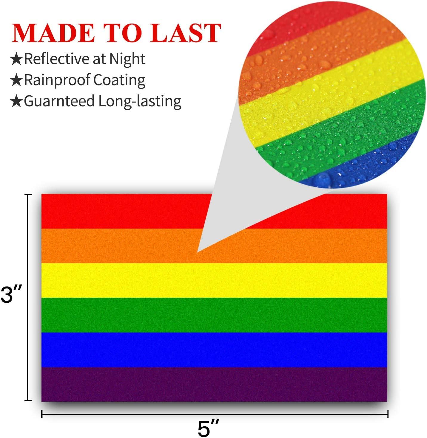 Transgender Pride 3er-Pack Lesbisch Anley LGBT Pride Aufkleber reflektierende Autoaufkleber Bisexual 12,7 x 7,6 cm Regenbogen-Flagge