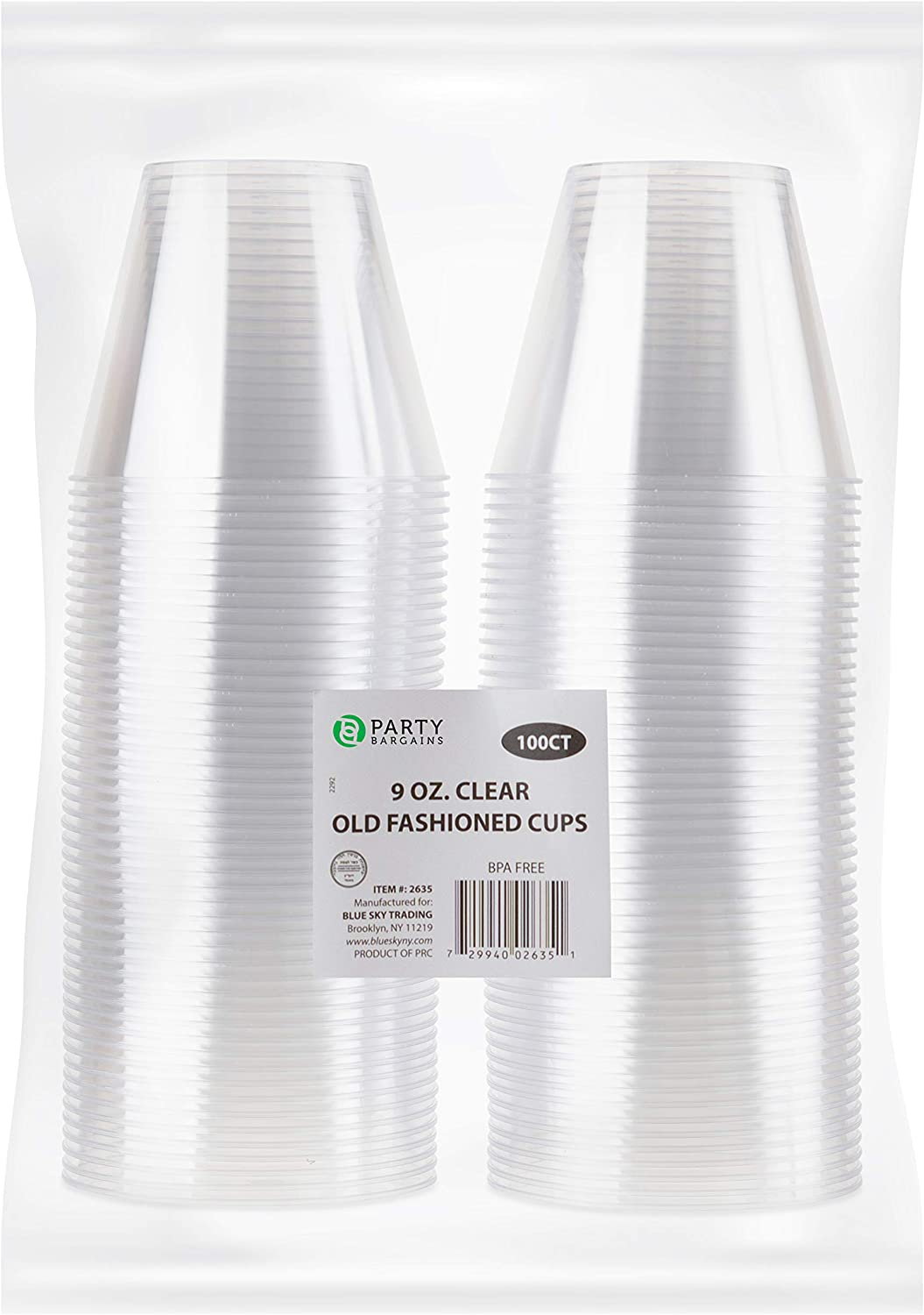 Crystal Clear Plastic Cups | 9 Ounce Disposable Cups | Old Fashioned Tumblers Beverage Party Cup Excellent for Wine, Cocktails & Punch | 100 Count