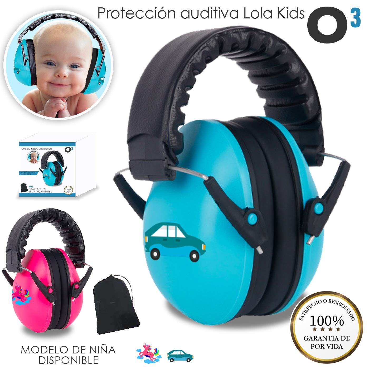 O³ Proteccion Auditiva Bebe Lola Kids De 0-3 Años en 2 Versiones - Cascos Antiruido | Cascos Ruido Niños con Bolsa de Almacenamiento - Orejeras Antiruido Para Niños Dormir-Bricolaje-Concierto- Niño O³