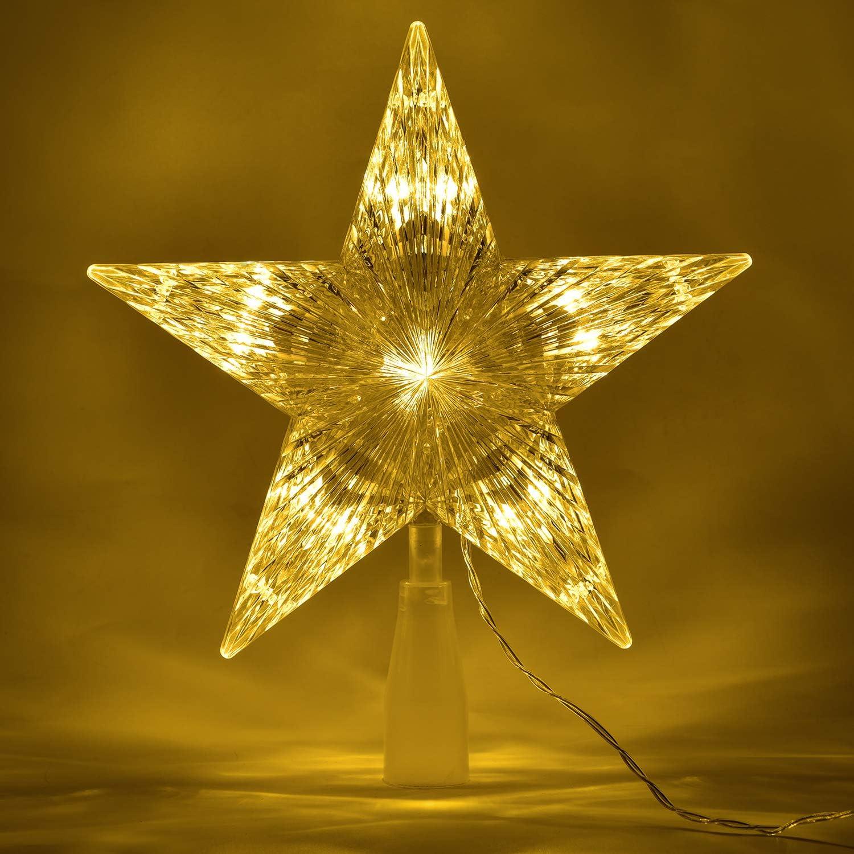 Artiflr 10 Inch White Christmas Star Tree Topper with LED Light, Christmas Tree Topper Star Treetop Decoration for Christmas Tree Home Decor