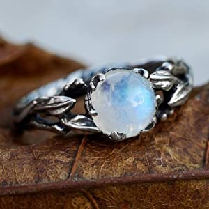"Sterling Silver Rainbow Moonstone Ring""Louise"" READY TO SHIP, moonstone engagement ring, delicate ring, twig ring, leaves ring, nature inspired ring"