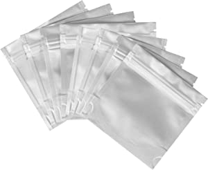 100PCS/PACK 4x4inch Stand up Mylar bags, Resealable Aluminum Mylar Foil Plastic Packaging Bag with Ziplock Heat Sealable Smell Proof Food Storage Candy Bags with Tear Norch Long term Food Bags.