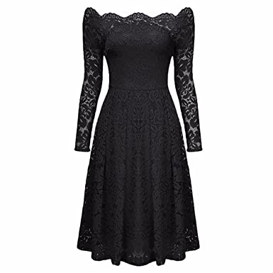 4317deb2c2a Samtree Women s Floral Lace Long Sleeve Vintage Bridesmaid Cocktail Party  Swing Dress(S(fit