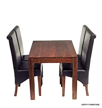 Solid Mango Dakota Dining Set 4ft 12m With 4 Leather Chairs