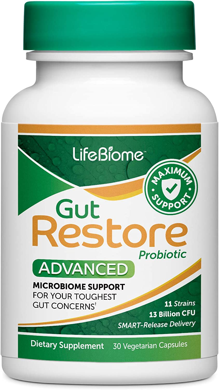 Dr. Drew Sinatra's LifeBiome Gut Restore Advanced, Maximum Strength Microbiome Probiotic with Fermented Botanicals, 11 Multi Strains, 30 Once-Daily Capsules, Vegetarian, Soy-, Dairy-, and Gluten Free