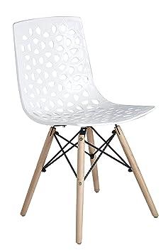 Mavigs Decor Dsw Beechwood Dining Chair (22*19*31 Inch, White)