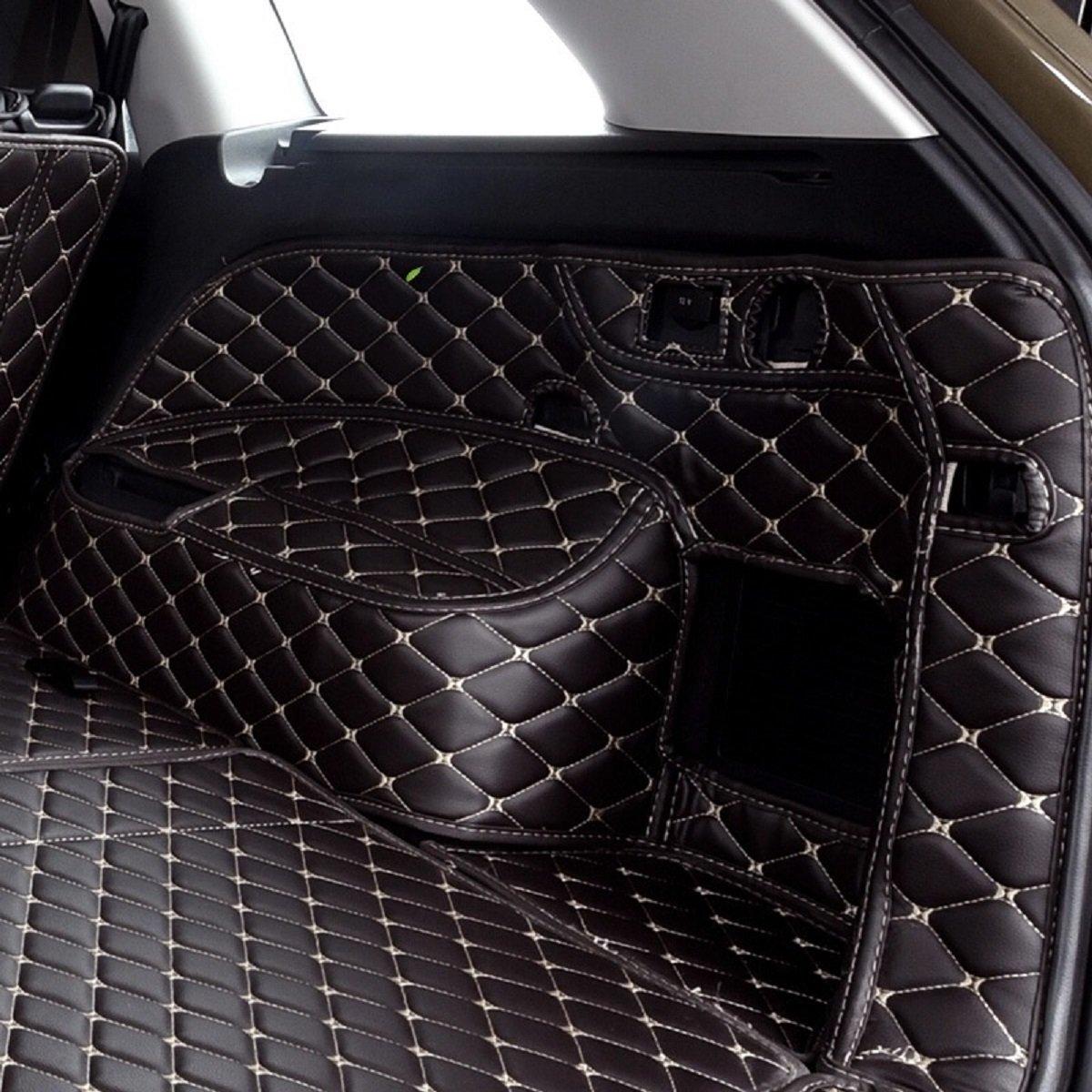 Emblem Trading Kofferraum Kofferraumwanne Kofferraummatte Kofferraumdecke Kofferaumschutzmatte Schutzmatte Seitenmatten XPE Leder B8 Variant Schwarz Mit Beigem Faden