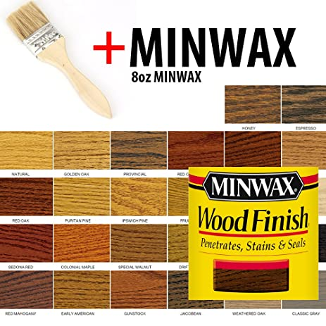 8oz PICKLED OAK Minwax Stain And 1 Paint Brush