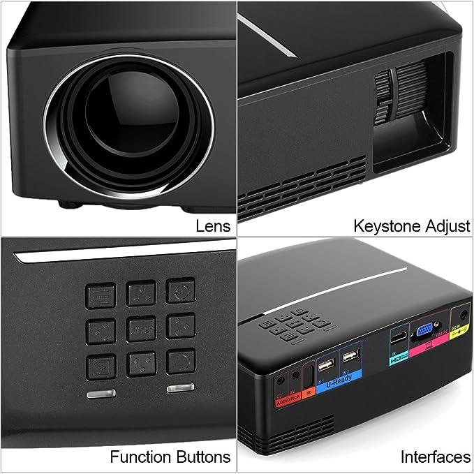Docooler GP80 Proyector 1080p Full Color 180 del proyector LED ...