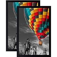 Golden State Art, Set of 2-11x17 Inch Poster Frame - Black - Landscape/Portrait - Swivel Tabs - Simple and Stylish