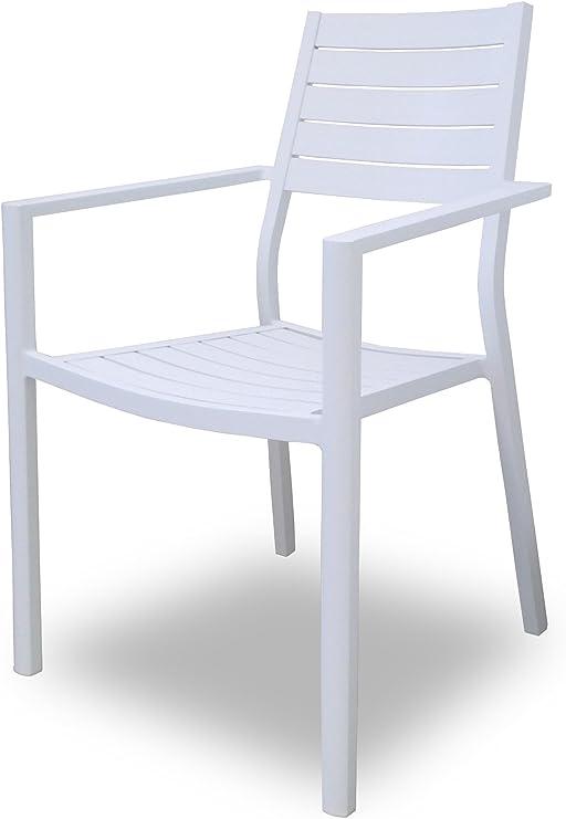 SLAAP - Silla de Comedor para jardín DHC1760 Aluminio Blanco.Medidas 58x56x88cm: Amazon.es: Jardín