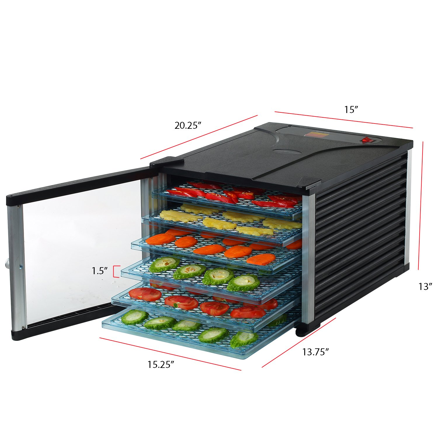 HomCom 6 Tray 630W Fruit and Vegetable Dryer Food Dehydrator w/Timer