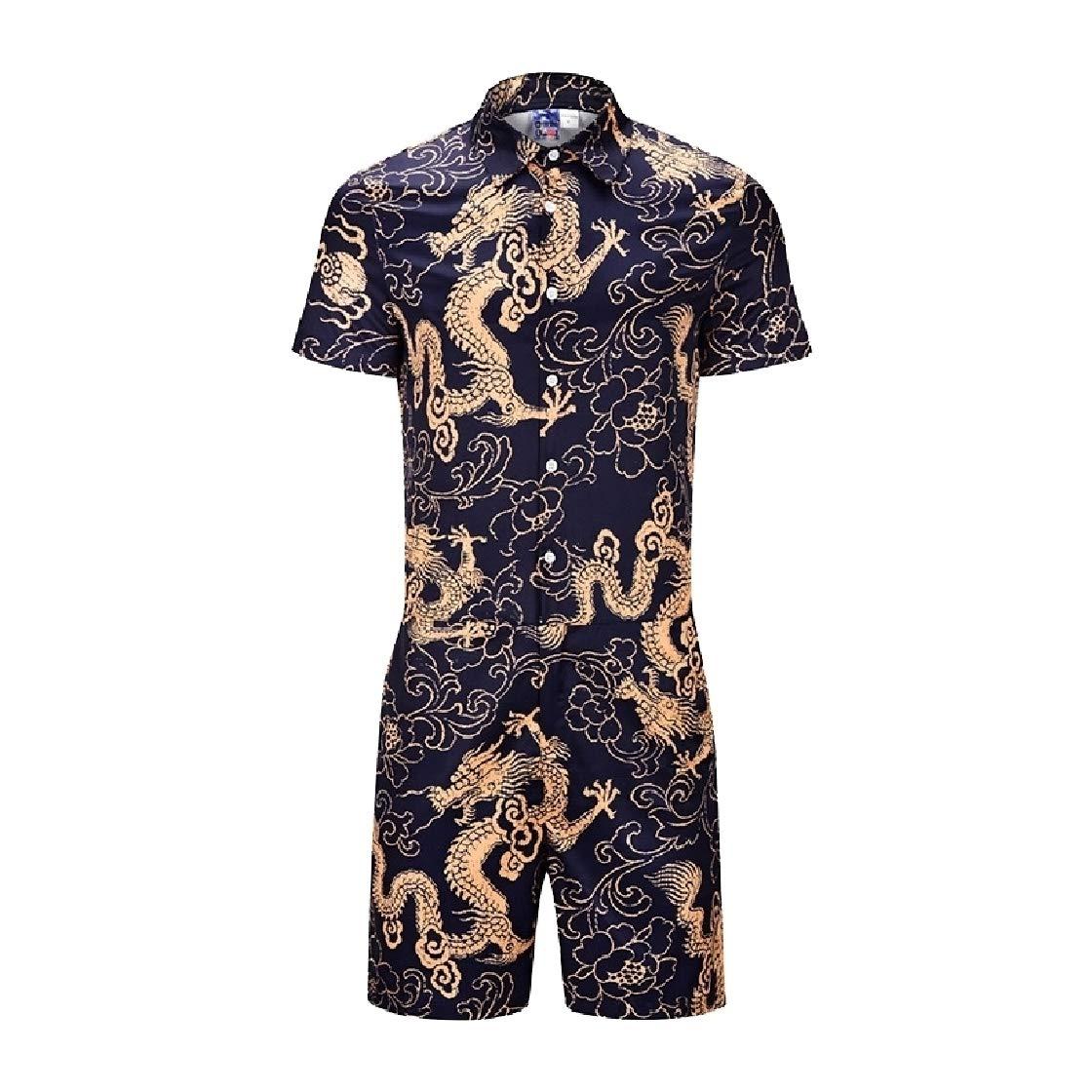 DressU Mens Summer Short-Sleeve Oversize Premium Office Jumpsuit