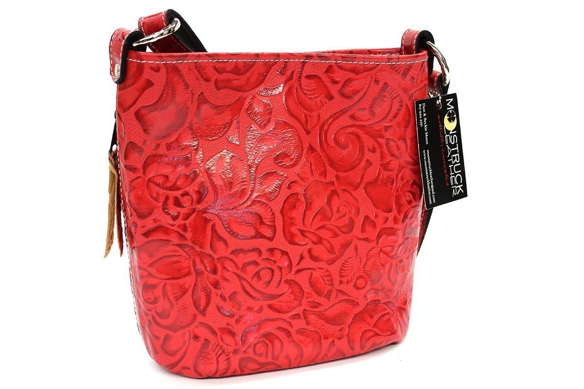 MoonStruck Leather Concealed Carry Purse - CCW Handbags Ferrari Red Rose Leather - Made in the USA - Bucket