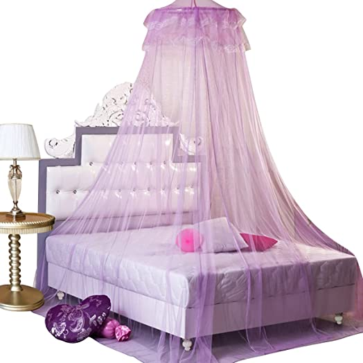 Housweety New Round Lace Curtain Dome Bed Canopy Netting Princess Mosquito Net Purple