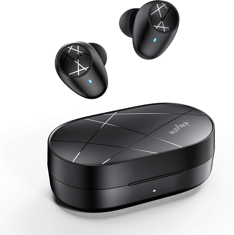 HolyHigh Auriculares Bluetooth 5.0 Mini Auriculares Inalambricos Deporte 30H Tiempo de Reproducción Encendido/Emparejamiento Automático IPX5 a Prueba de Agua Llamada Binaural HiFi para iOS Android