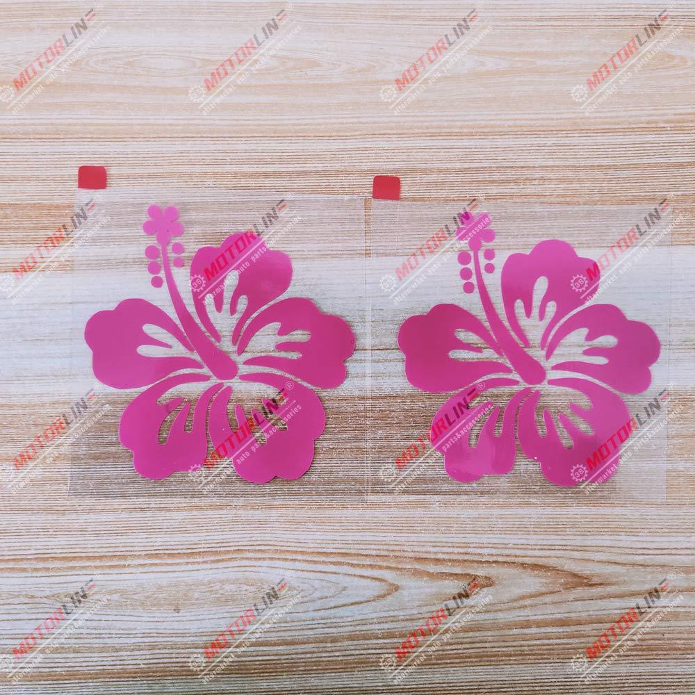 3S MOTORLINE 2X hot Pink 4'' Hibiscus Flower Hawaiian Decal Sticker Car Vinyl Hawaii Aloha
