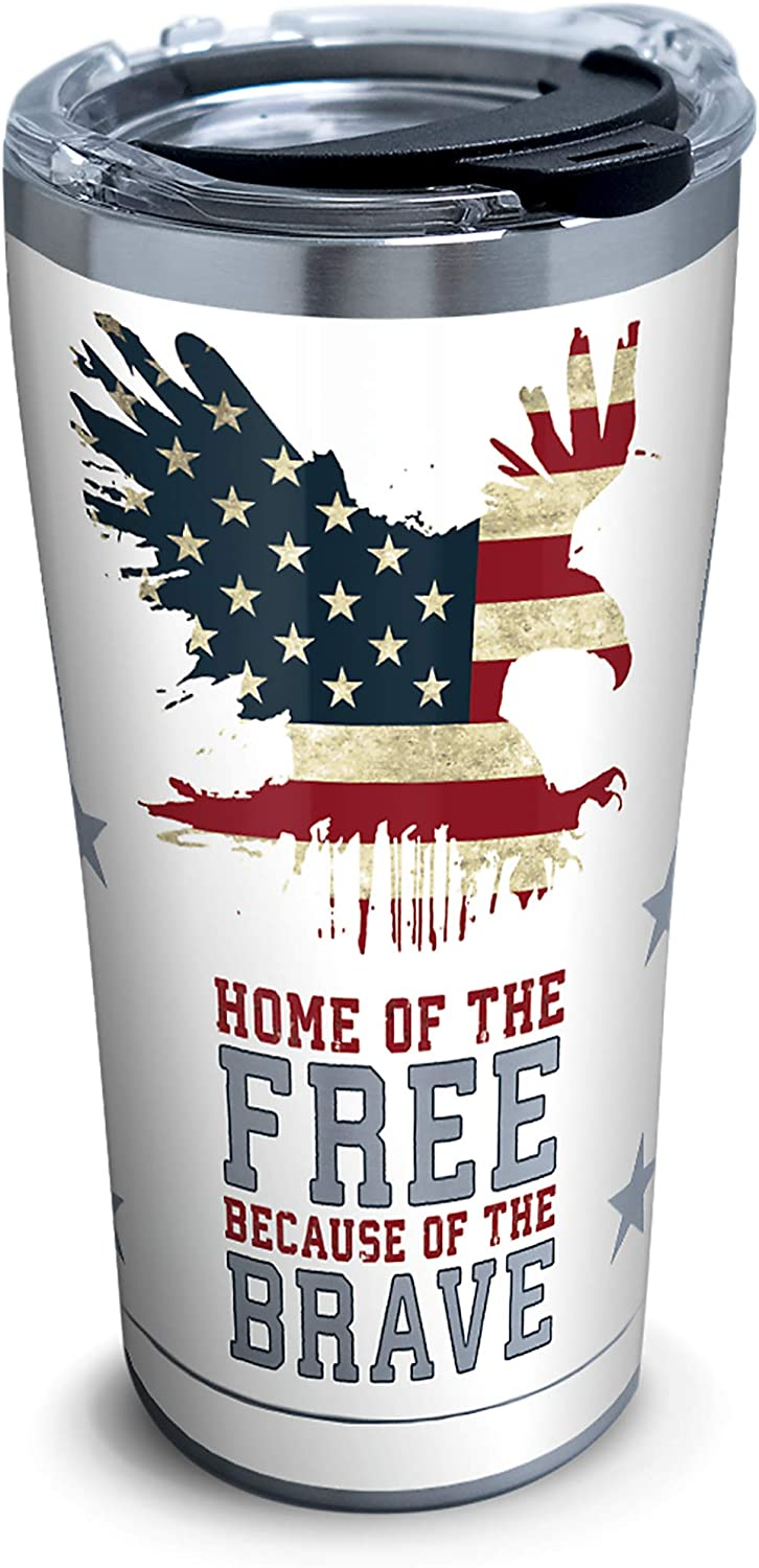 Tervis Home of the Free Because of the Brave Stainless Steel Tumbler with Clear and Black Hammer Lid 20oz, Silver