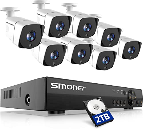 SMONET Full HD 1080P Security Camera Systems,8 Channel 5-in-1 HD DVR Indoor Outdoor Camera System 2TB Hard Drive ,8pcs 2MP Wired CCTV Cameras,Surveillance System with Night Vision,Plug Play DVR Kits