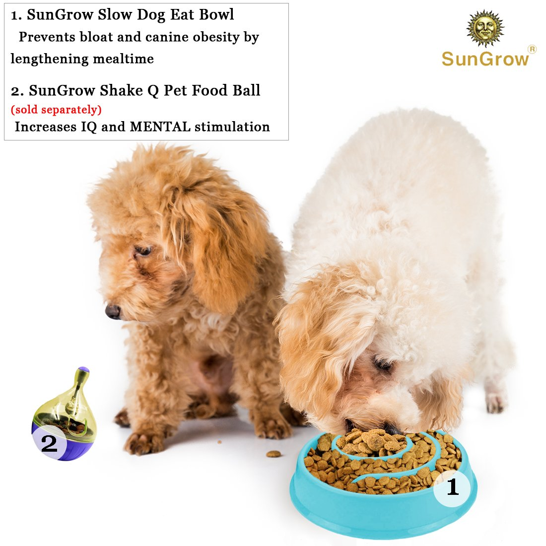 Amazon.com : Slow Dog Feed Bowl by SunGrow -- Prevents canine obesity -  Free from BPA, PVC and phthalate toxic materials - Promotes fun,  interactive, ...