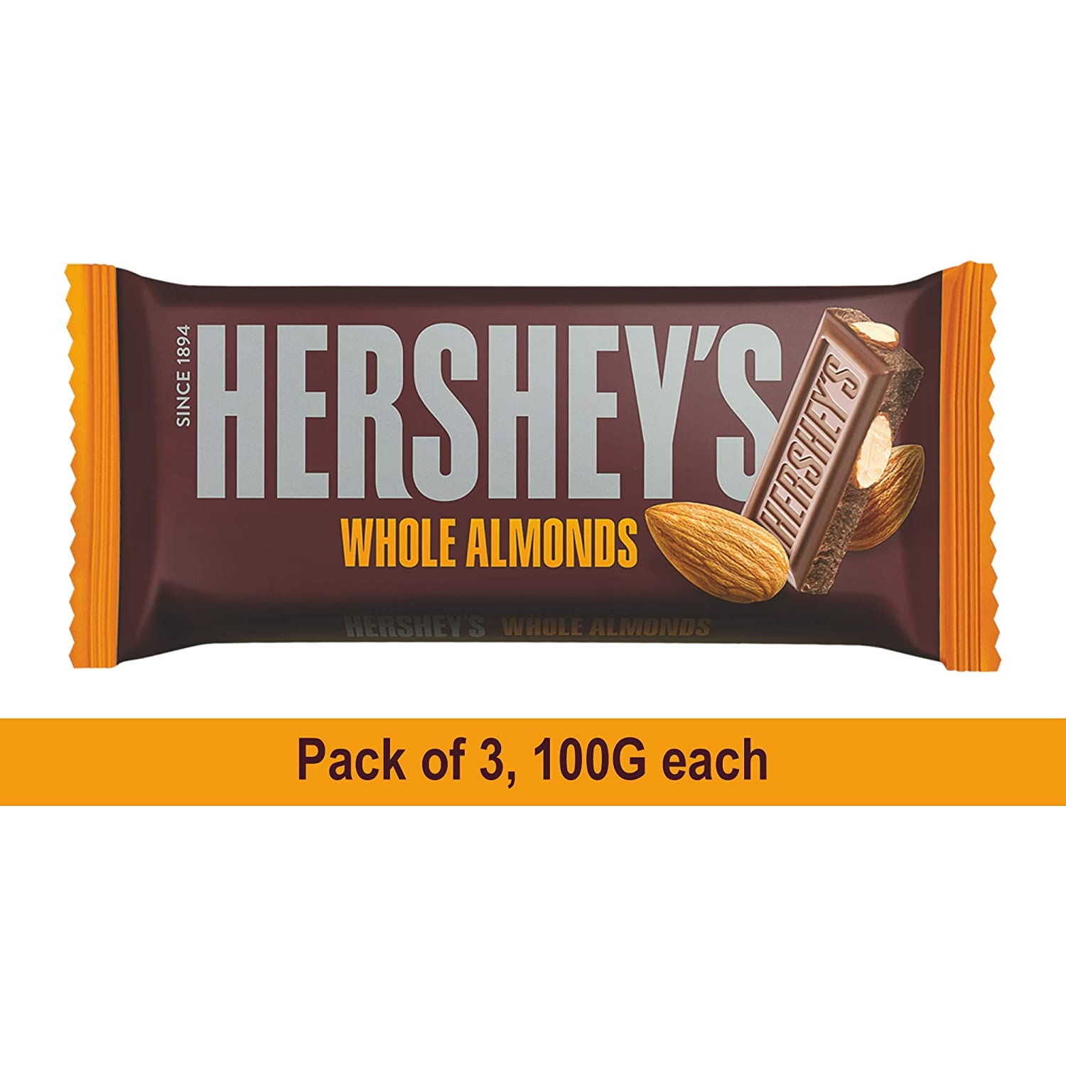 Hershey's Bar Almond, 100gm (Pack of 3) Pouch, 3 x 100 g