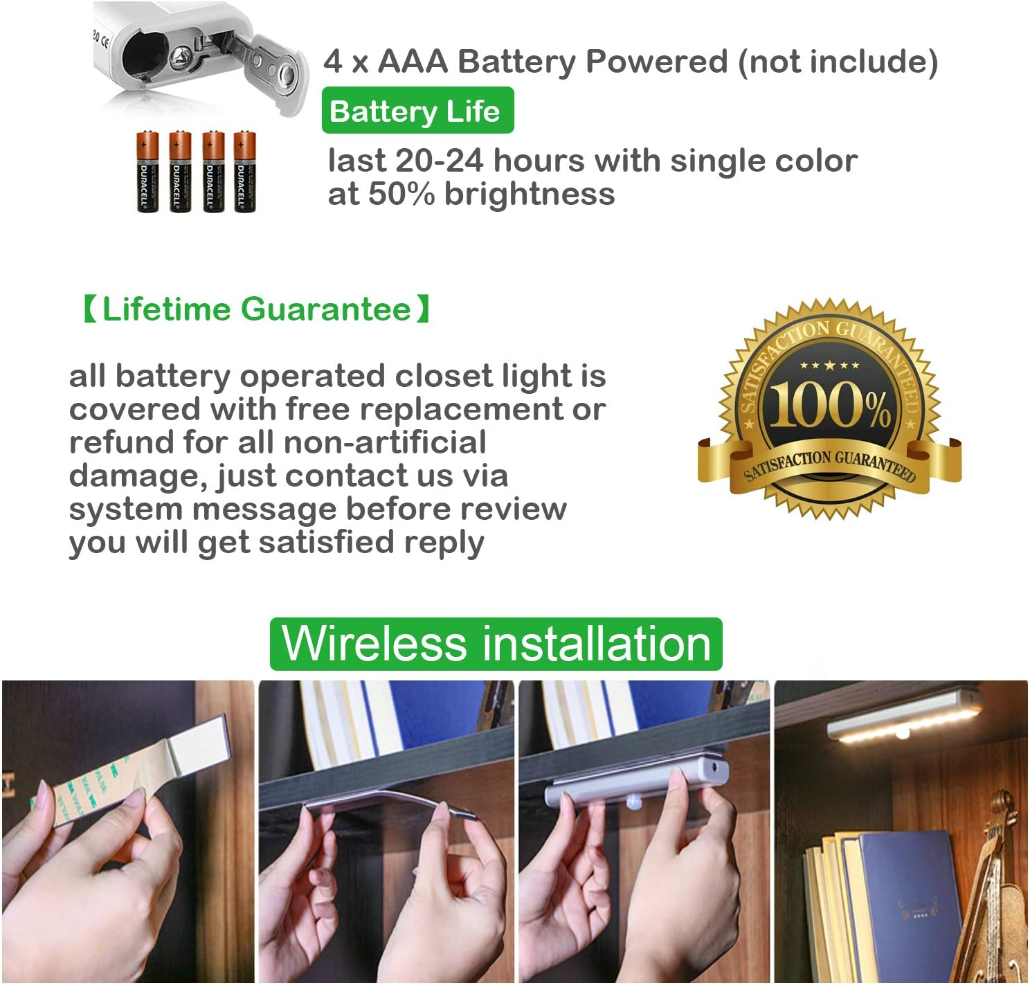 SZOKLED Wireless Under Cabinet Lighting Battery Operated 20 LEDs Remote Control Closet Lights with Timer Dimming Touch Switch Night Light Bars for Garage Pantry Stairs Hallway Shelf 3 Colors 4 Packs