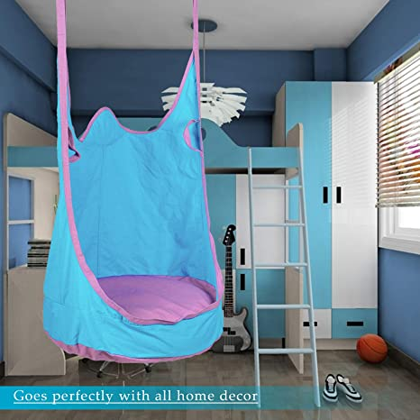 Prime Co Z Kids Pod Swing Seat Child Hanging Hammock Chair Indoor Outdoor Kid Hammock Seat Pod Nook Upgraded Two Straps Blue Creativecarmelina Interior Chair Design Creativecarmelinacom