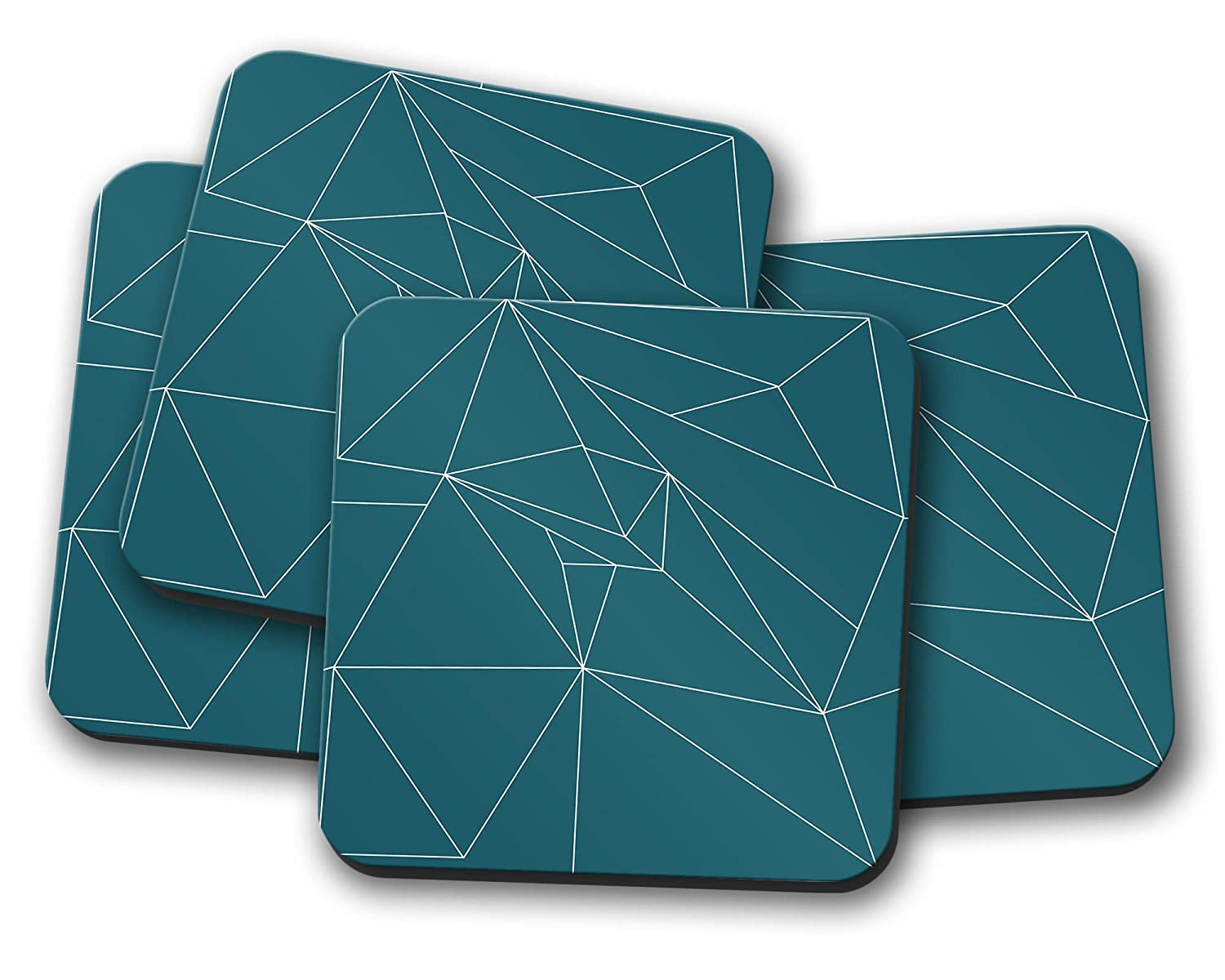 Teal and White Lines Coasters