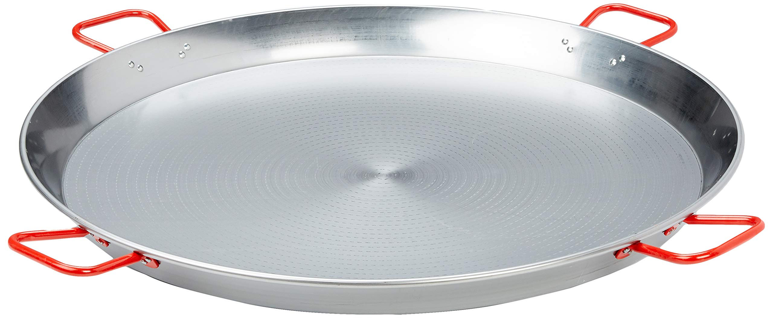 La Ideal 071052 Polished Steel Paella Pan, 35 1/2-Inch, Gray/Red by La Ideal