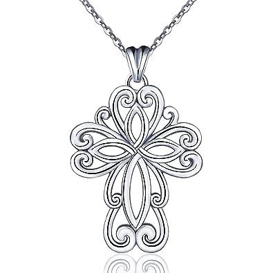 8da40bf79139a 925 Collier en Argent Sterling pour les Femmes, Croix de Fleurs Celtiques  Religieux Pendentif Colliers