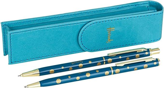 Harrods of London - Set de regalo para bolígrafo y lápiz, color azul: Amazon.es: Oficina y papelería