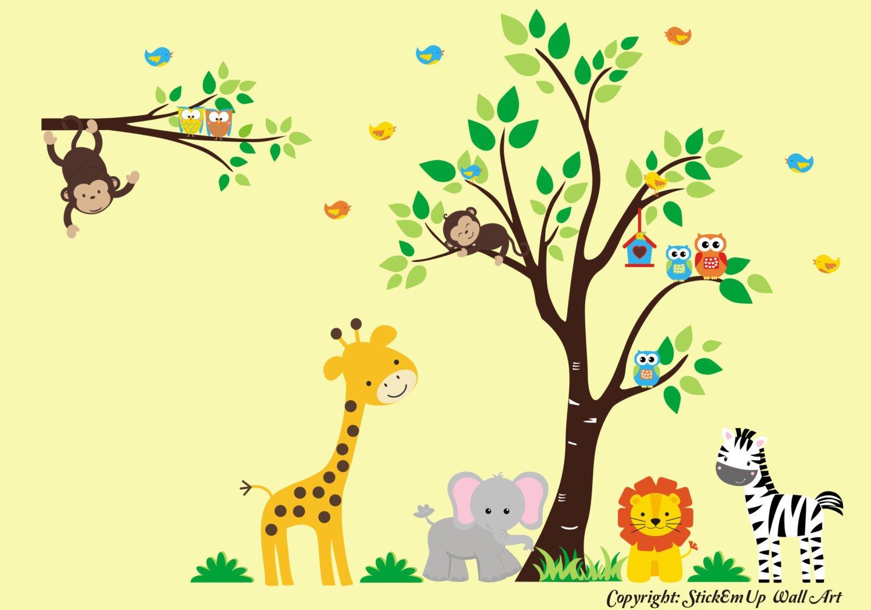 Amazon.com: Safari Animal Wall Decals - Kid\'s Room Wall Stickers ...