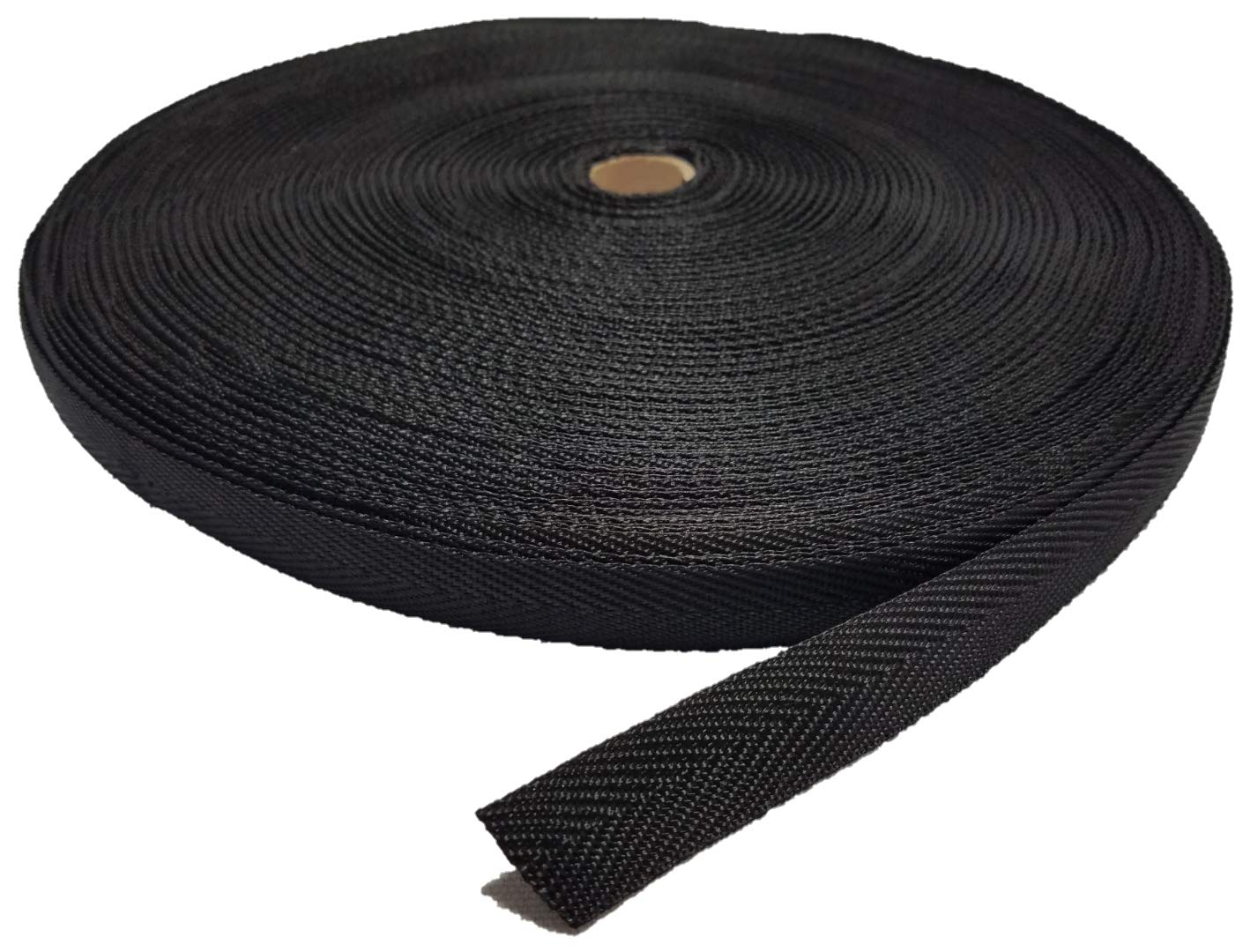 100 YARD - 3/4'' NYLON BINDING TAPE / WEBBING - HERRINGBONE PATTERN - BLACK by Ameratex