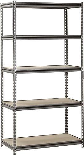 Muscle Rack 36 W x 18 D x 72 H, 5-Shelf Steel Shelving, 4000 lb Capacity, Silver Vein