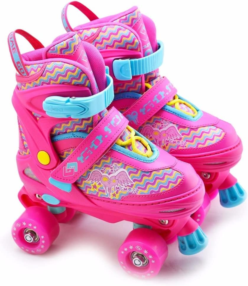 The Magic Toy Shop 4 Wheel Adjustable Quad Roller Skates Kids Boots Childrens Rollerskates / UK