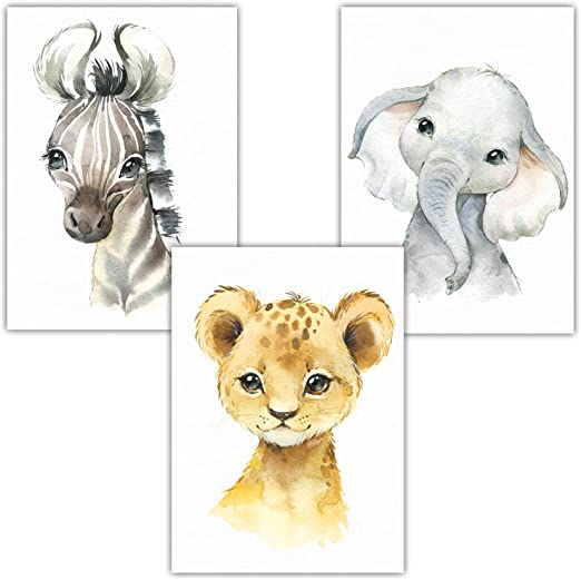 L/öwe Erdm/ännchen I Babyzimmer Deko I Kinderbilder Koala Lalelu-Prints 4er Set Poster Kinderzimmer Bilder Deko Junge M/ädchen DIN A4 Dschungeltiere Elefant