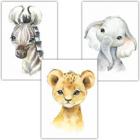 Fototapete Ballon Tiere Wolken Afrika Safari Kinder Kinderzimmer Löwe Elefant Z