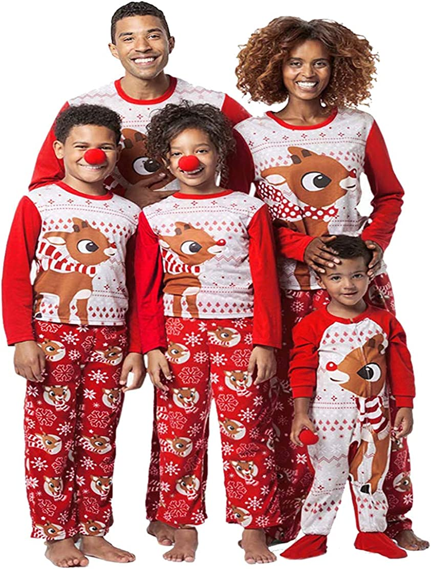 Pigiama Famiglia Natale Set di Cotone per Donna Uomo Bambini Neonato Top a Manica Lunga Pantaloni Lunghi Abiti Coordinati Famiglia Pigiami Natalizio